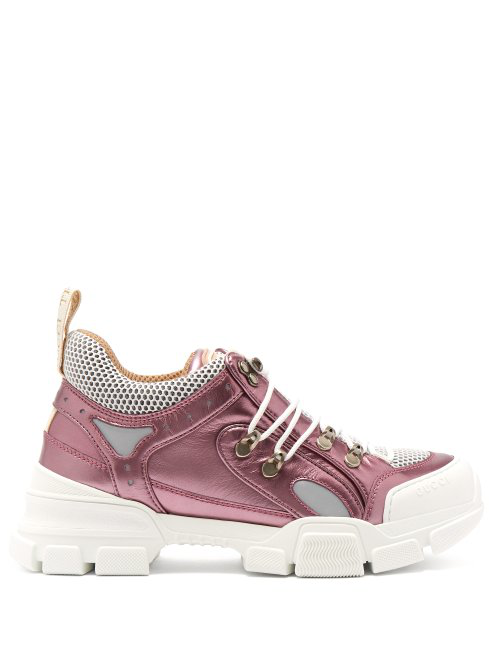 Gucci - Flashtrek Leather Low Top Trainers - Womens - Pink