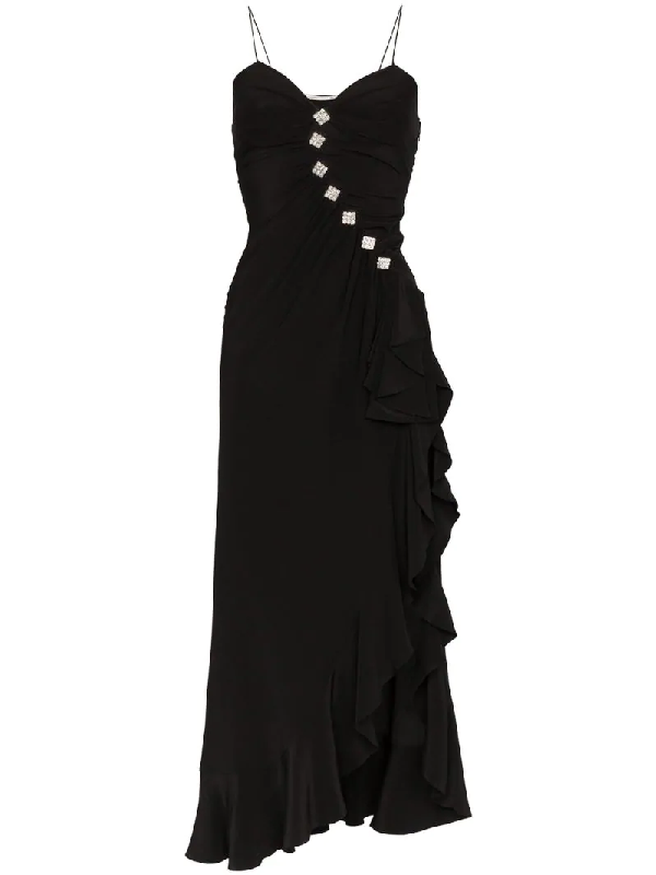 Alessandra Rich Embellished Silk Dress In Black