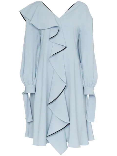 Adeam Ruffle Detail Dress In Blue