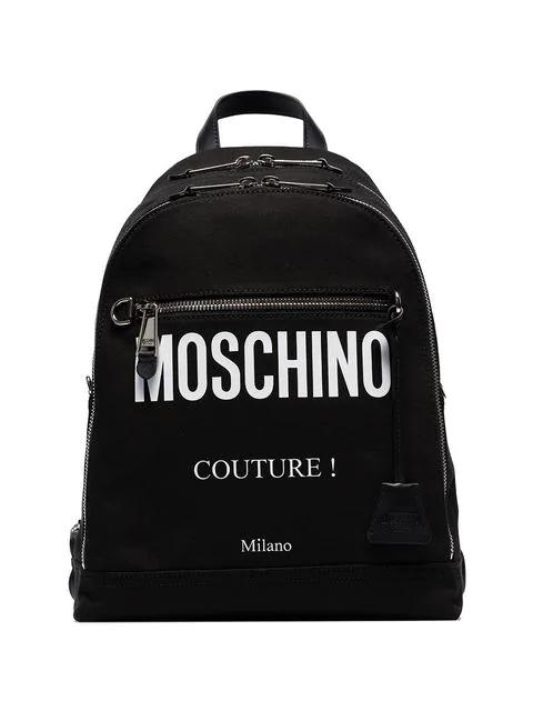 Moschino Black Logo Print Cotton Canvas Backpack