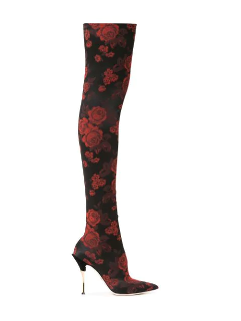 Dolce & Gabbana Over-The-Knee Stretch-Jacquard Sock Boots In 89650 Nero Rosso