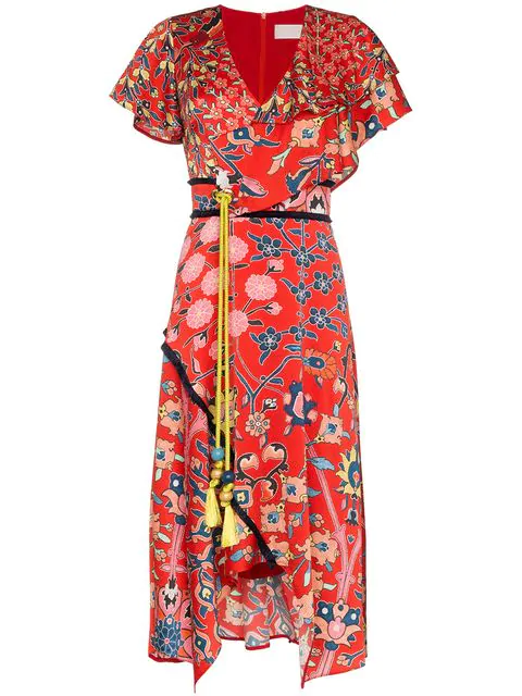 Peter Pilotto Floral-Print Stretch-Silk Dress In Red