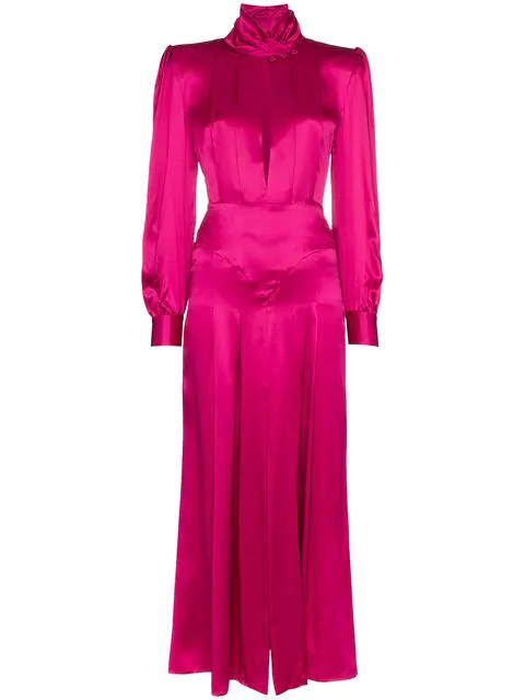 Alessandra Rich Pleated Silk In Pink