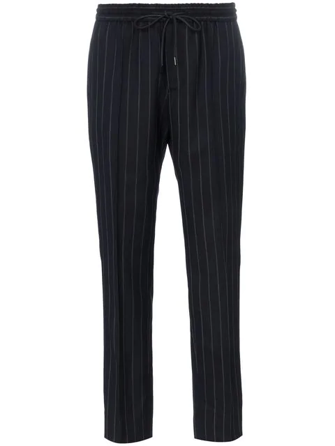 Juun.j Mid Rise Pinstripe Trousers In Blue