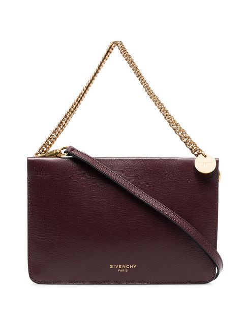 Givenchy Cross3 Textured-leather And Suede Shoulder Bag In Burgundy