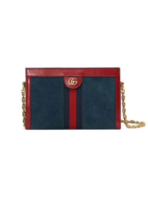 Gucci Red And Navy Ophidia Small Suede And Leather Shoulder Bag In 4064 Newblu