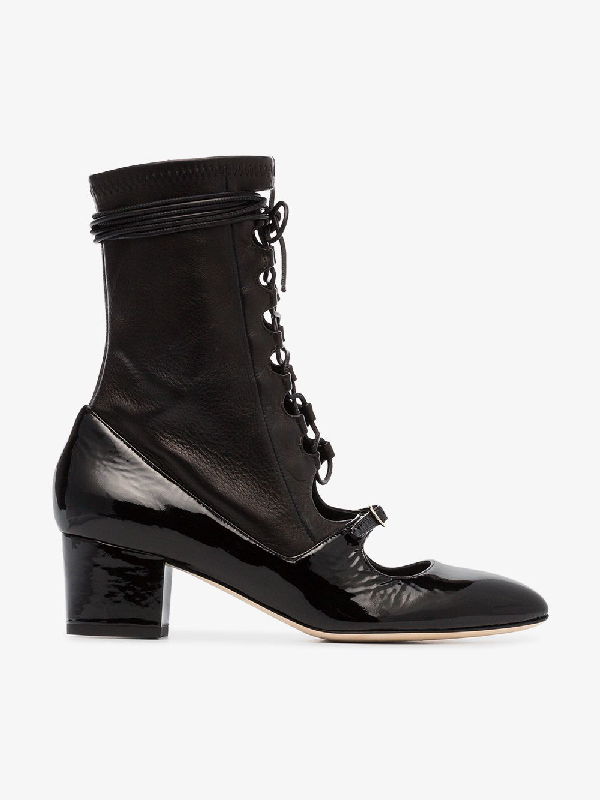 Liudmila Black Mille Hortense 50 Leather Lace Up Boots