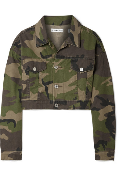1376e8d5381c0 Re/Done Cropped Camouflage-Print Denim Jacket In Green | ModeSens