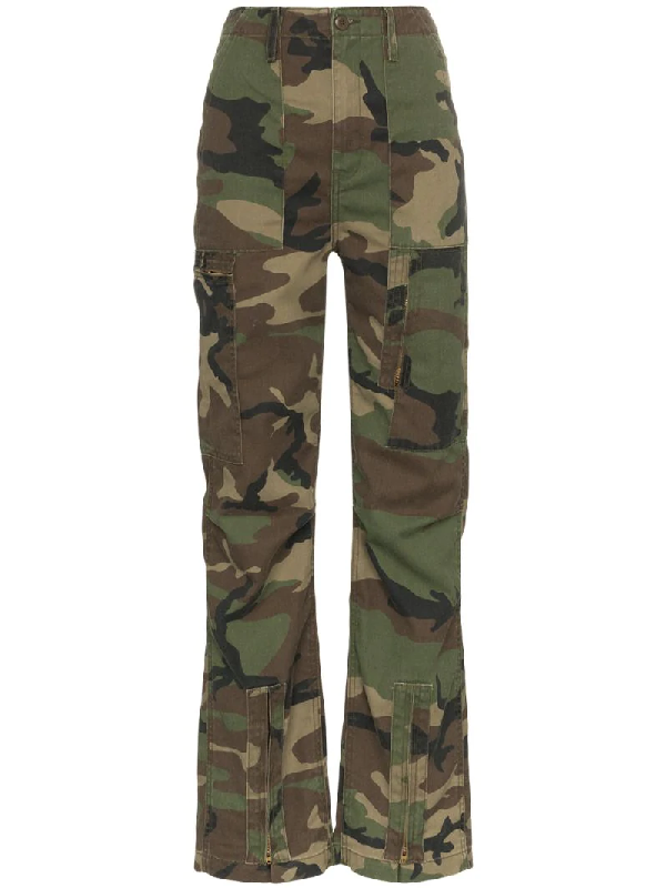 cbd2577995591 Re/Done Camouflage High-Waist Cargo Pants In Green | ModeSens
