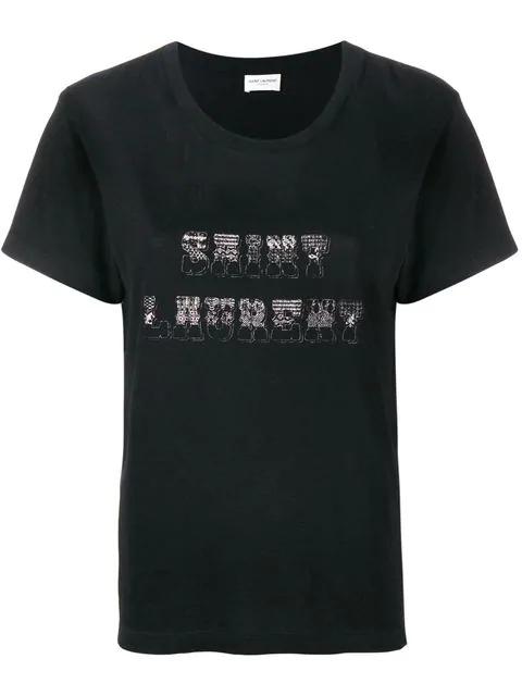 Saint Laurent Cotton Jersey Printed T-Shirt In Black