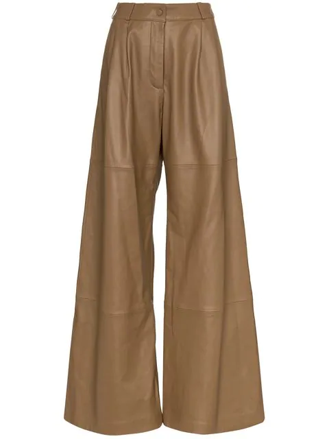Zimmermann Unbridled Leather Wide Leg Pant In Brown