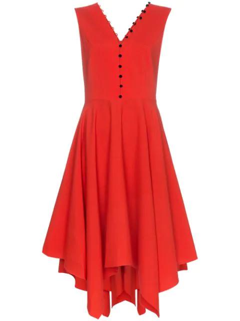 Adeam Sleeveless Handkerchief Hem Dress In Red