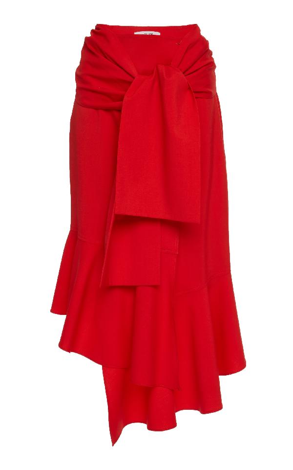 Adeam Asymmetric Wool-blend Midi Skirt In Red