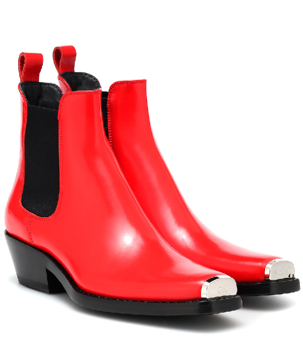 9de5f725d12 Western Claire Leather Ankle Boots in Red