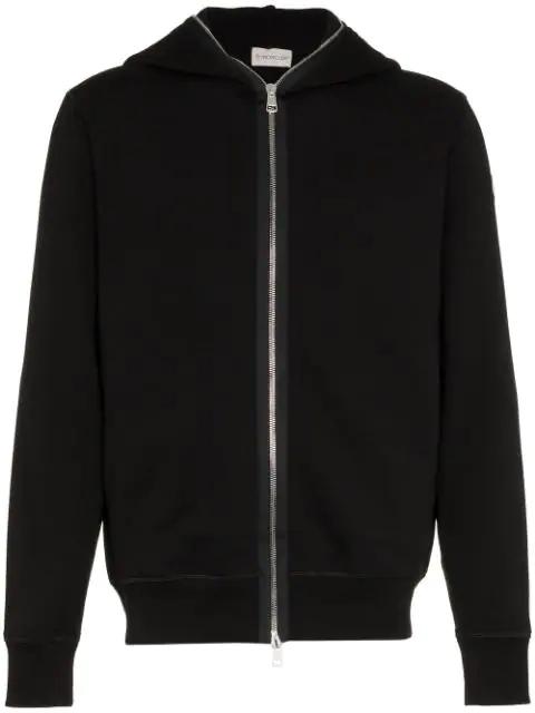 Moncler Zip Hooded Sweater In Black