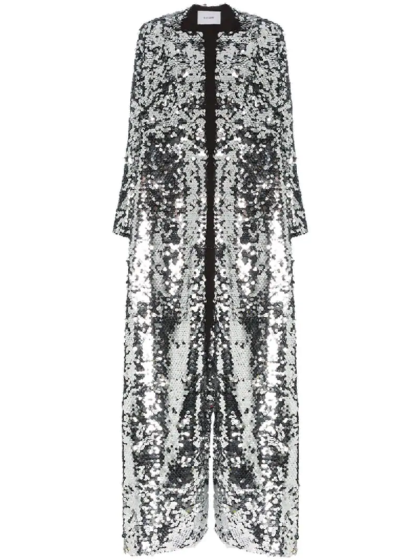 ad259128209 We Are Leone Morgan Sequin Embellished Maxi Coat - Grey