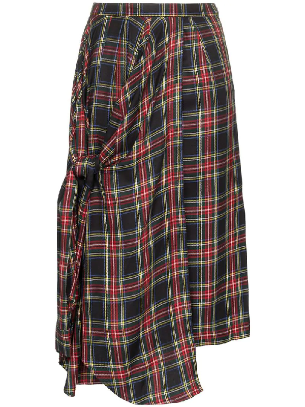4277de0985 Pushbutton Asymmetric Tartan Midi Skirt - Black | ModeSens