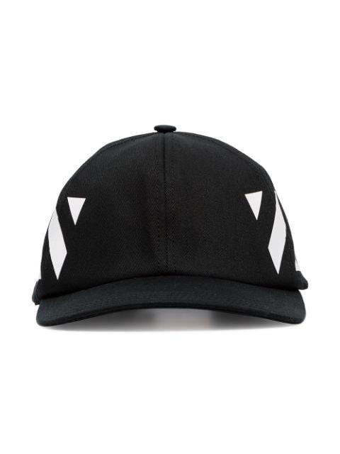 Off-white Diagonal Stripe-logo Cotton Baseball Cap In Black
