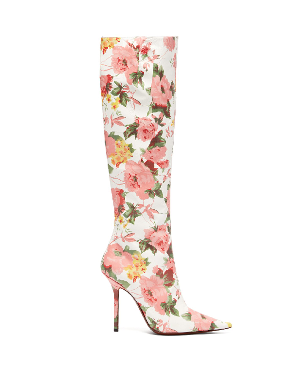Vetements - Floral Print Leather Knee High Boots - Womens - Pink White