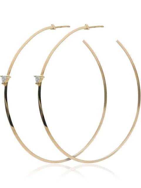 Lizzie Mandler Fine Jewelry Yellow Gold Diamond Hoop Earrings - Metallic