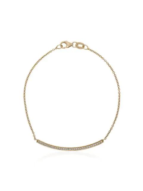Lizzie Mandler Fine Jewelry Yellow Gold Knife Edge Pave Diamond Bracelet In Metallic