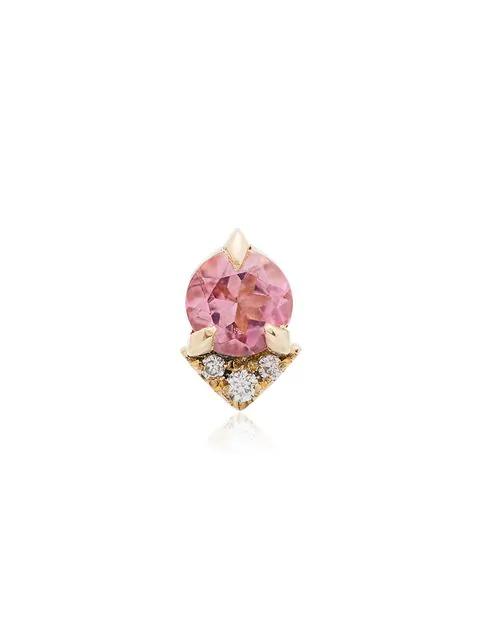 Lizzie Mandler Fine Jewelry Spike Stud Pink Morganite And Diamond 18k Yellow Gold Single Earring