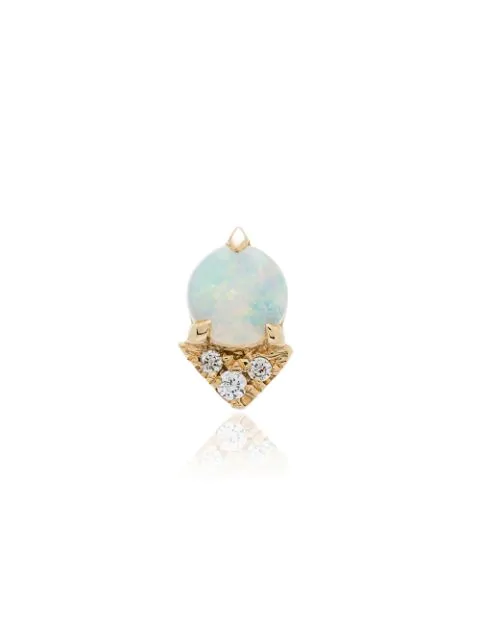 Lizzie Mandler Fine Jewelry Yellow Gold Opal Diamond Earrings In Yellow Gold White
