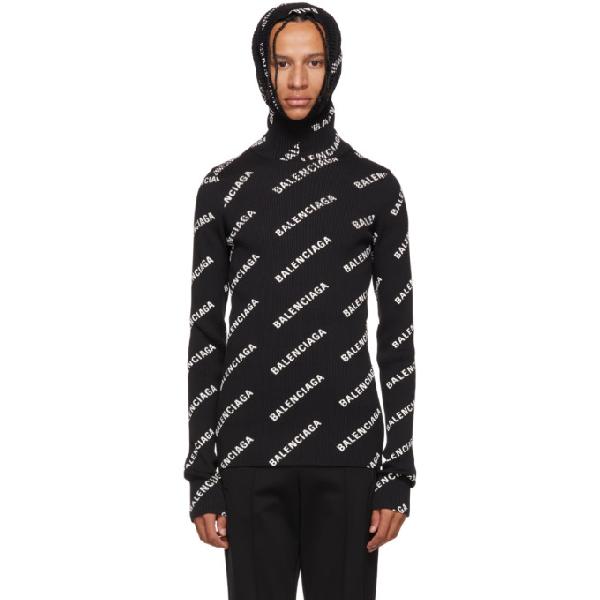 e4b2e04d466cd7 Balenciaga Logo-Print Turtleneck Knitted Jumper In 1070 Blk/Wh ...