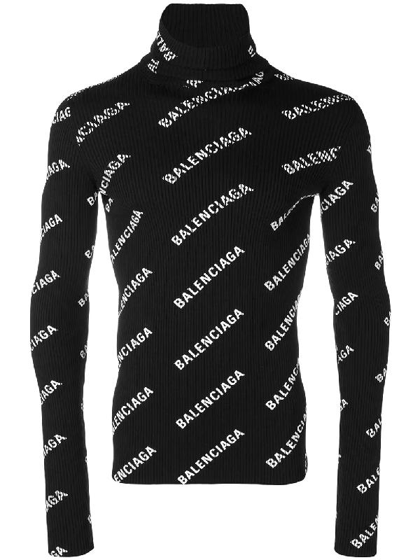 094ea60a63bac3 Balenciaga Logo-Print Turtleneck Knitted Jumper In Black | ModeSens