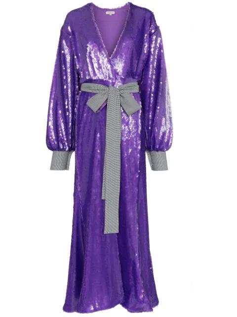 Natasha Zinko Sequin Embellished Maxi Robe Dress In Purple