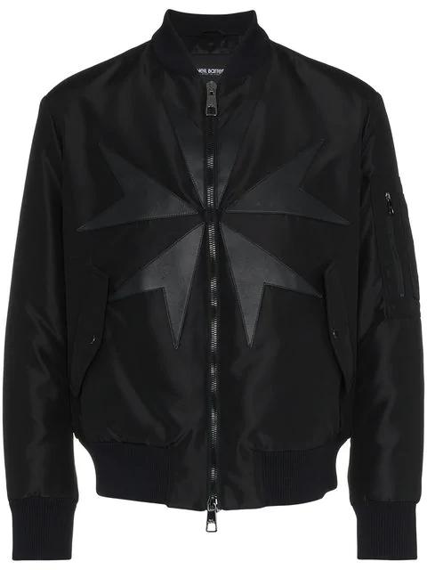 Neil Barrett Star Leather Panel Bomber Jacket In Black