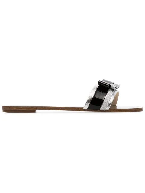 Sophia Webster Andie Slide Bow Grainy Leather Sandals In Metallic