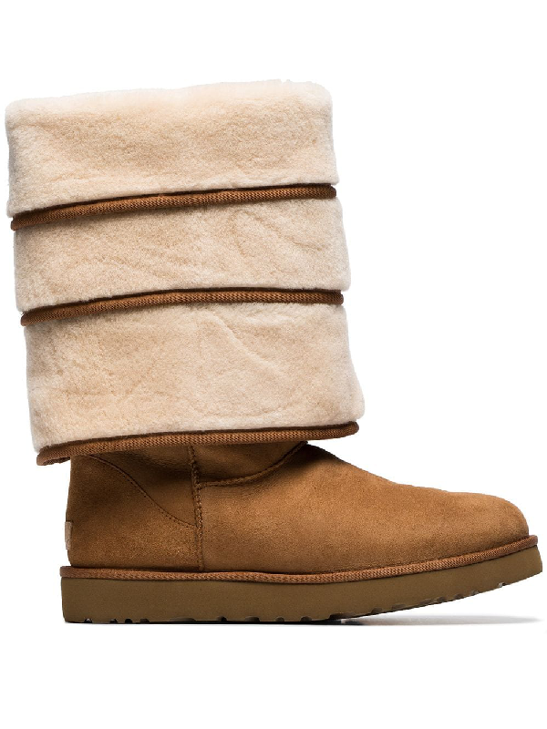 bb247b2c8eb Y / Project X Ugg Black Triple Layered Shearling Boots in Brown