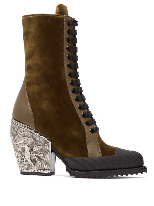 ChloÉ Brown Rylee 90 Baroque Velvet Lace Up Boots In Green