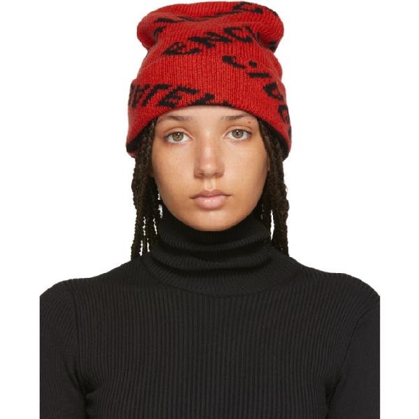 66ae6386 Balenciaga Red And Black Logo Knit Wool-Blend Beanie | ModeSens