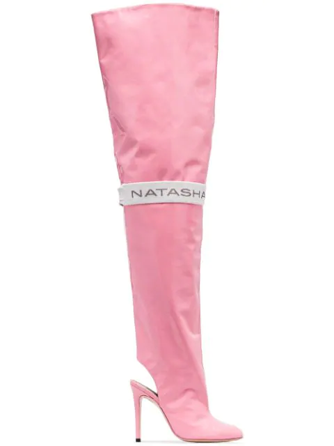 Natasha Zinko Pink 110 Thigh-high Patent Leather Boots