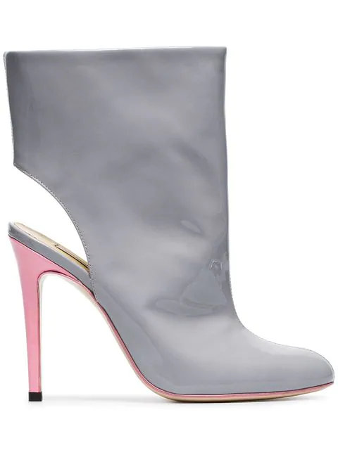 Natasha Zinko 110 Cut Out Ankle Boots In Grey