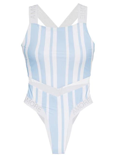 Ambra Maddalena Crush Mesh Insert Swimsuit - Blue