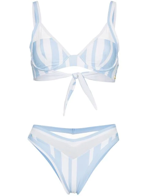 Ambra Maddalena Puppy Love Striped High Waist Bikini In Blue