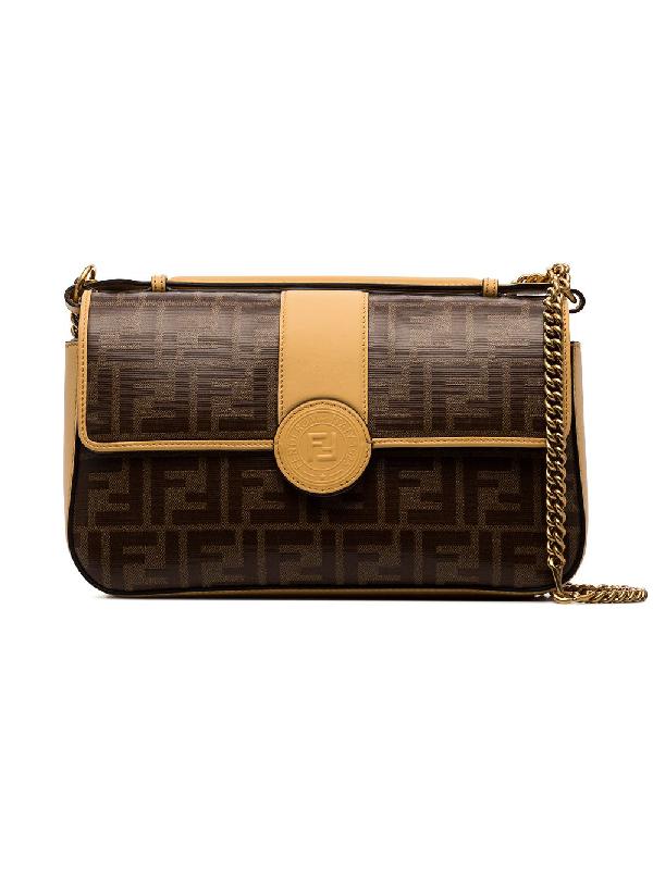 Fendi Brown And Beige Double F Logo Leather Shoulder Bag