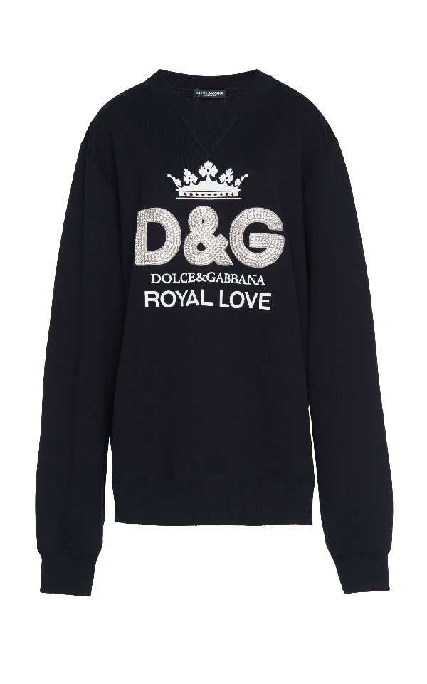 Dolce & Gabbana Crystal Embellished Logo Print Jumper In Black