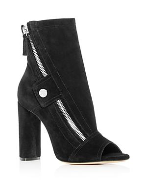 Casadei Women's Zip Open-Toe High-Heel Booties In Black