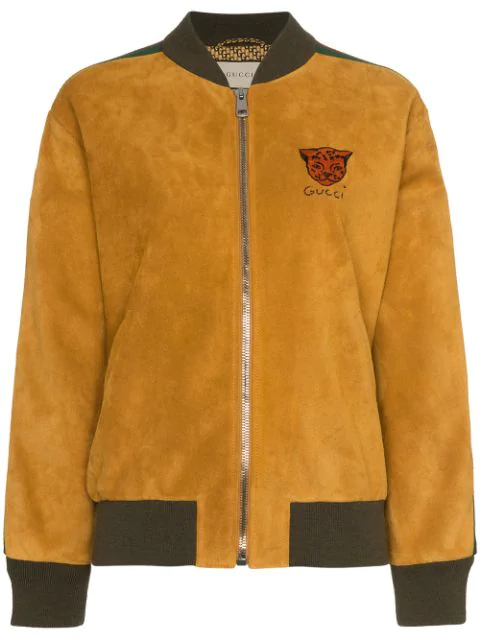 Gucci Logo Stripe Suede Bomber Jacket In Yellow