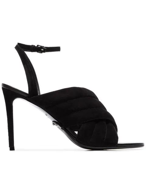 Balmain Black Janel 95 Suede Sandals