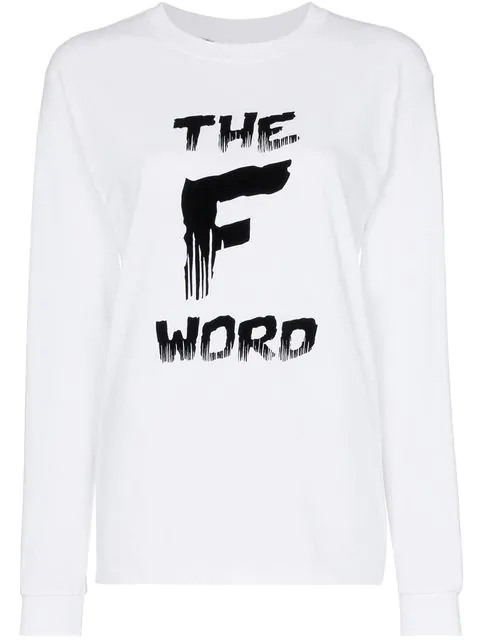 Ashish X Browns The F Word Long Sleeve Cotton T-Shirt - White