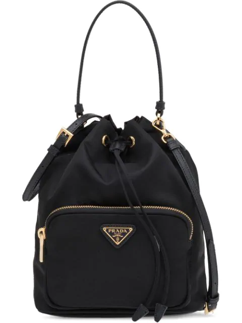 Prada Black Fabric Bucket Bag In F0002 Nero