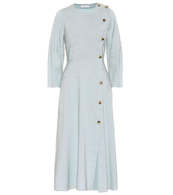 Rejina Pyo Michaela Asymmetric Woven Midi Dress In Sky Blue