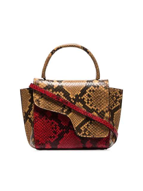 Atp Atelier Red Montalcino Snake Embossed Leather Cross Body Bag
