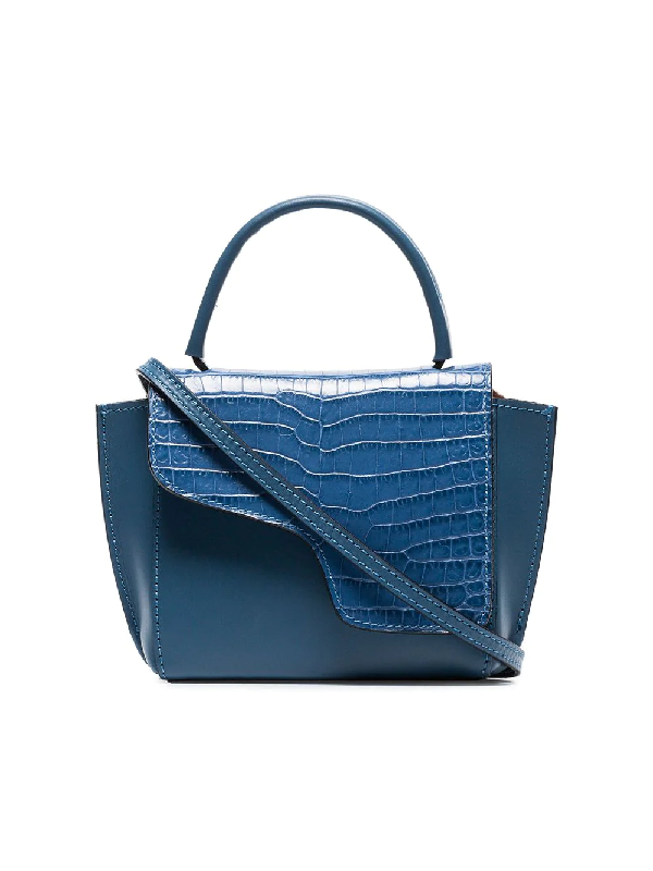 Atp Atelier Blue Montalcino Crocodile Embossed Leather Cross Body Bag