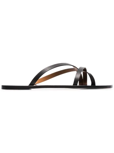 Atp Atelier Black Anise Leather Sandals